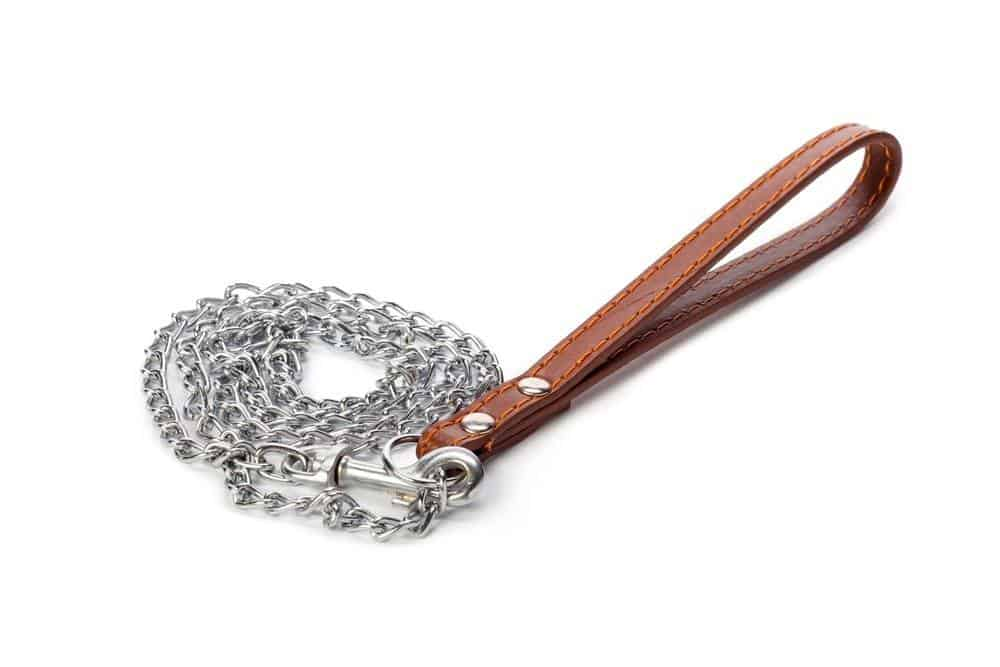Chain dog leash with leather handle