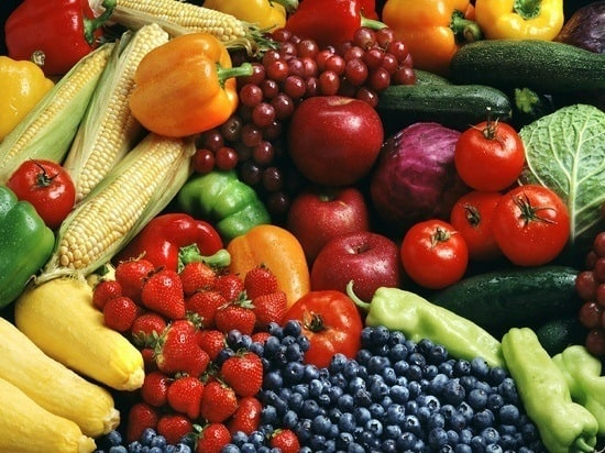 bunch of mixed fruit and vegetables.