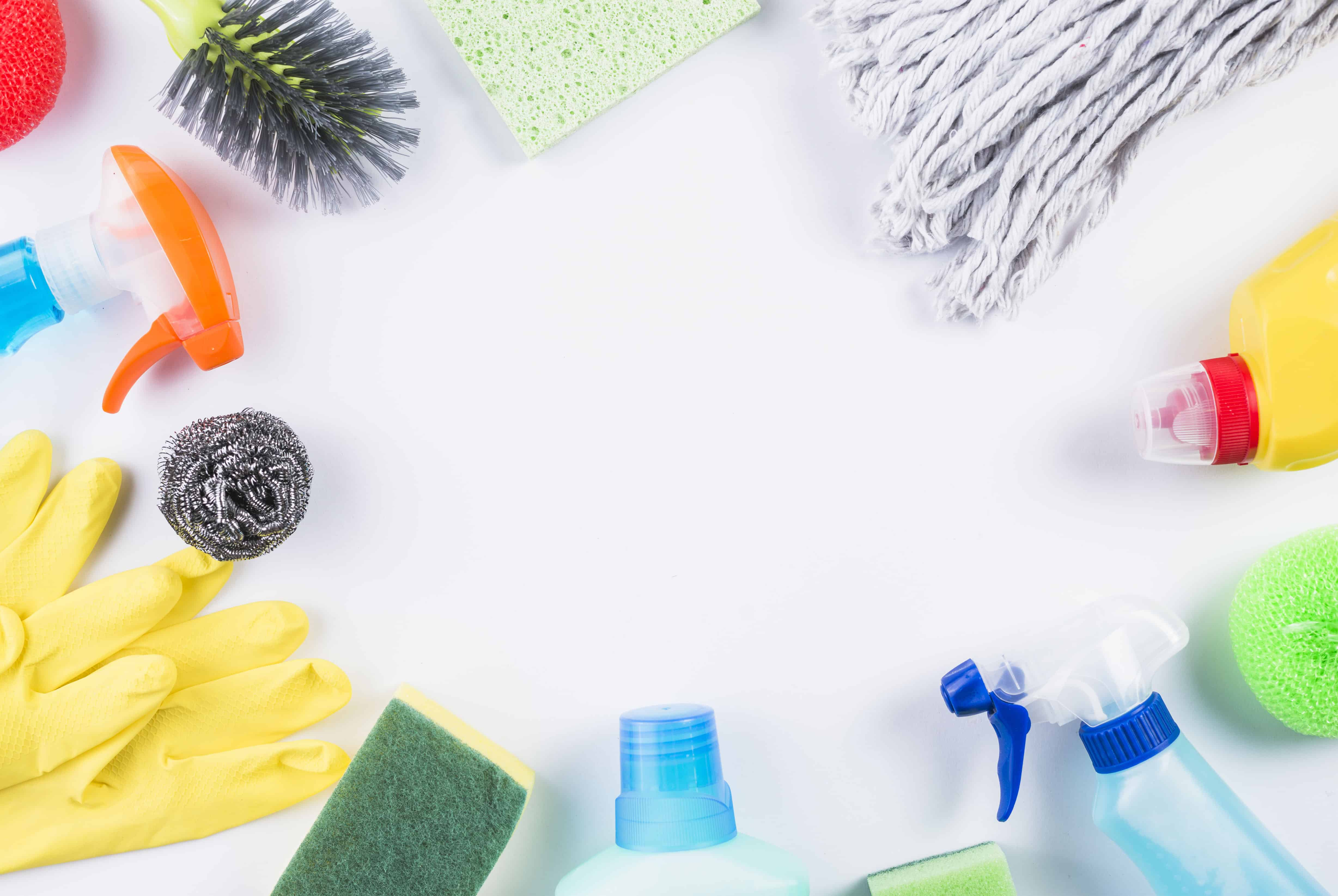 circle of cleaning supplies