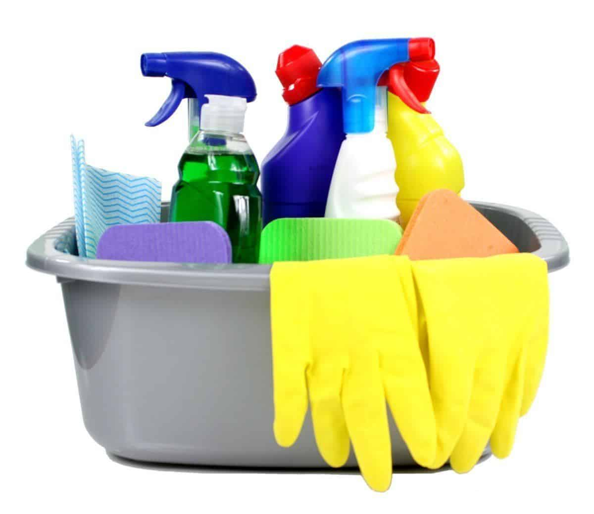 Cleaning supplies used to remove urine odor and stains