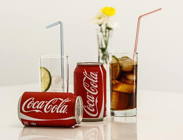 coca cola drink in glass